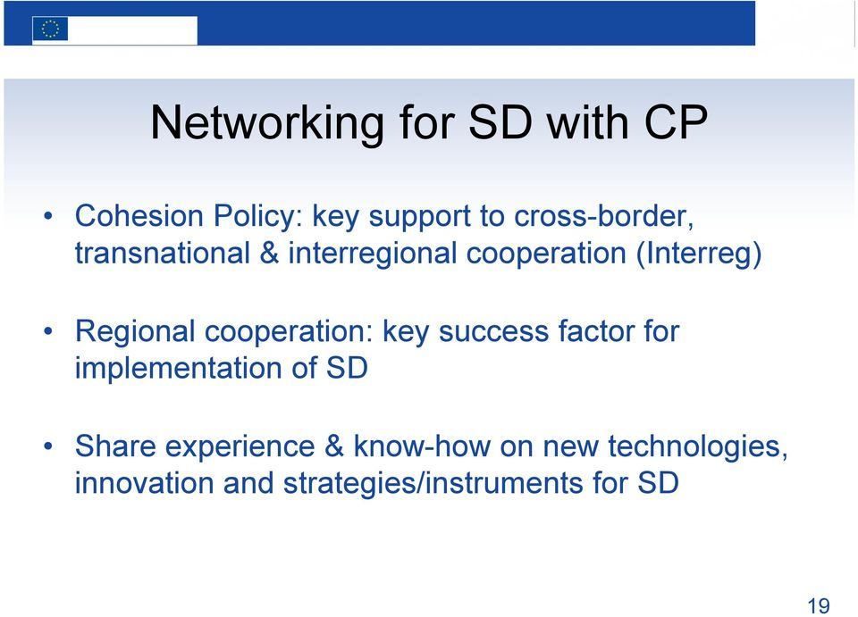 cooperation: key success factor for implementation of SD Share