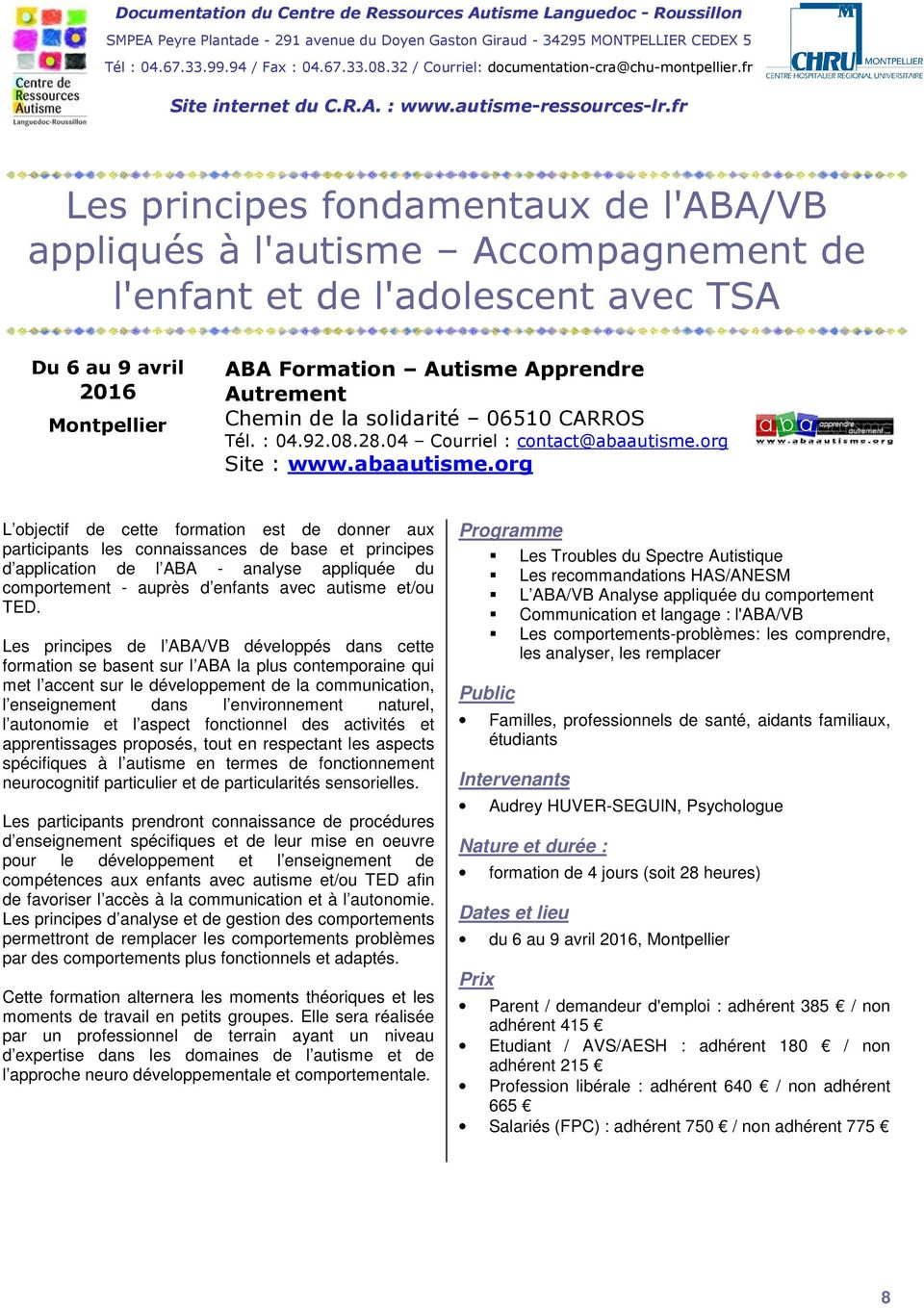 org Site : www.abaautisme.