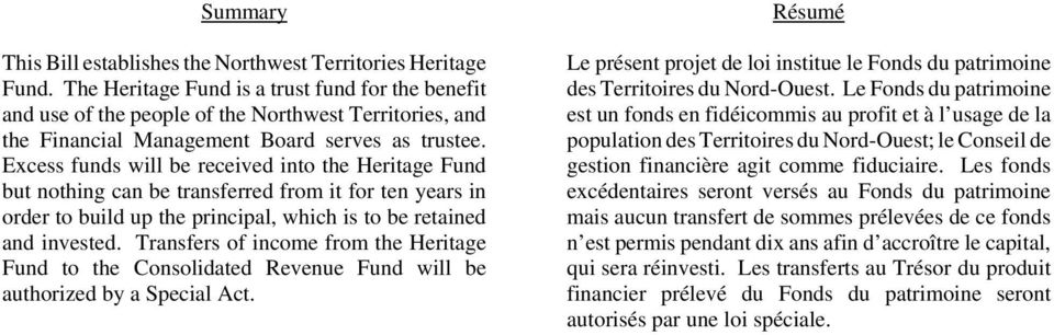 Excess funds will be received into the Heritage Fund but nothing can be transferred from it for ten years in order to build up the principal, which is to be retained and invested.