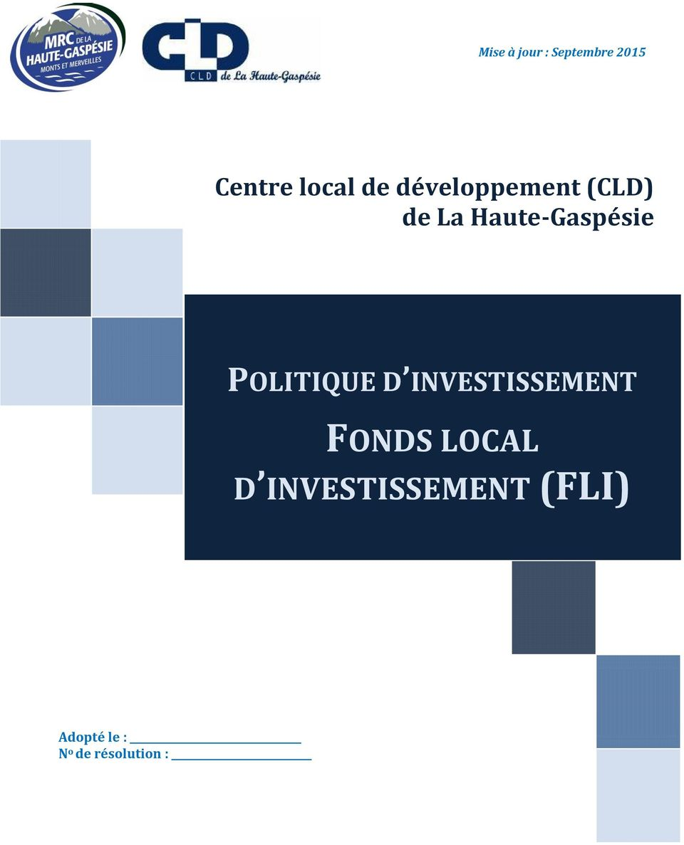 POLITIQUE D INVESTISSEMENT FONDS LOCAL D