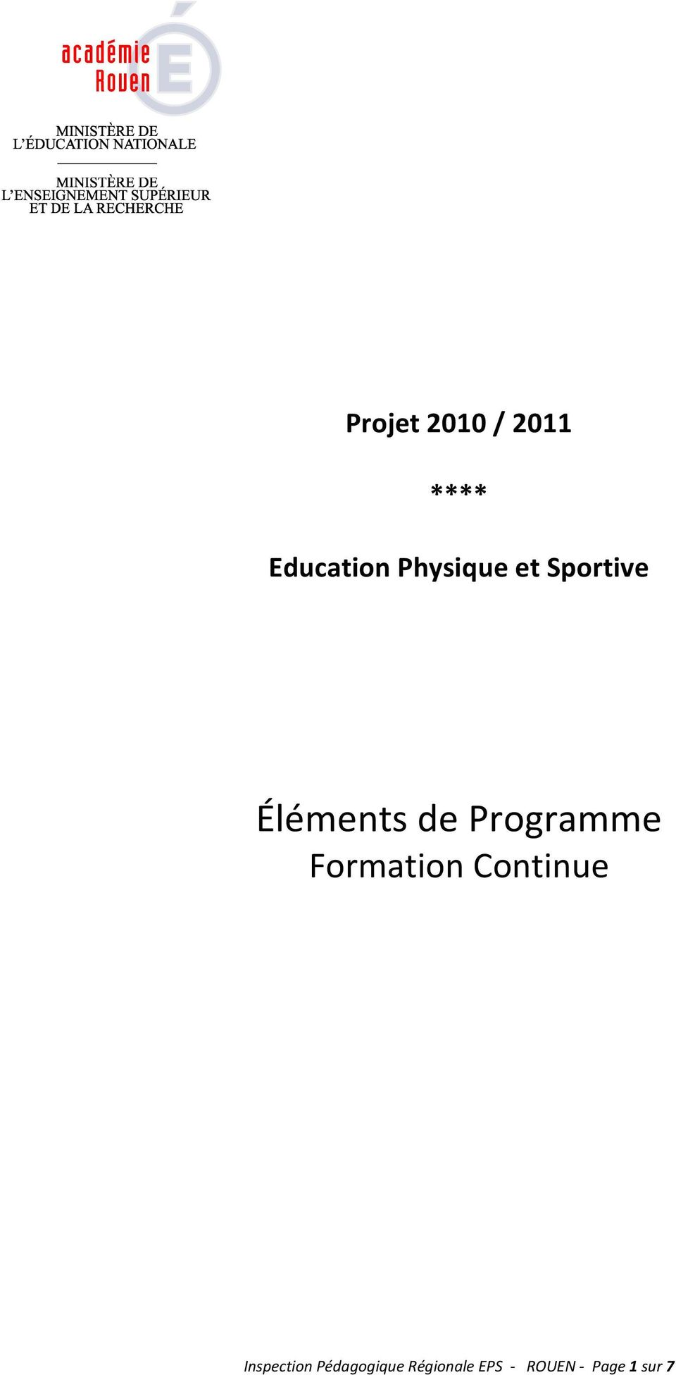 Programme Formation Continue