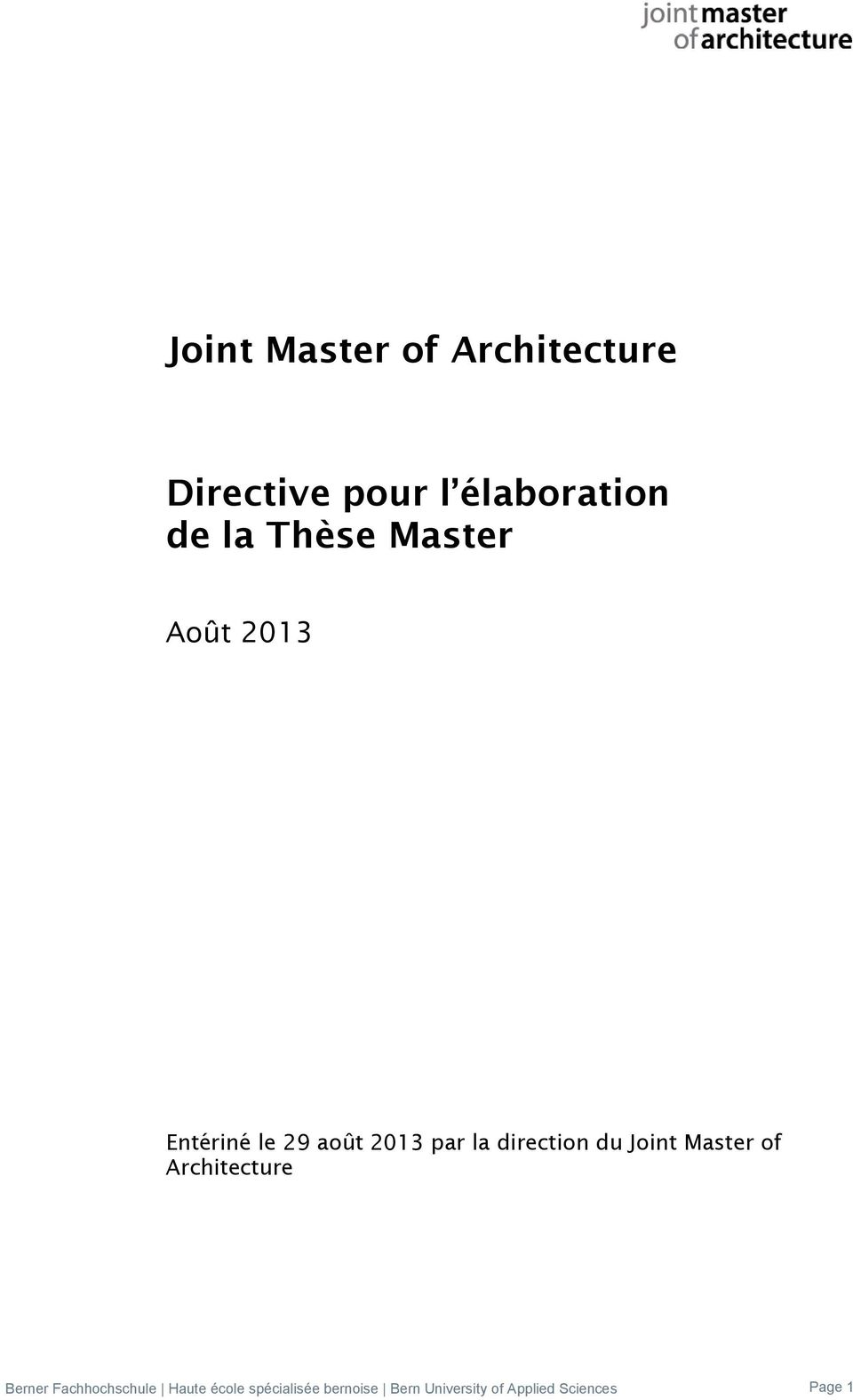 du Joint Master of Architecture Berner Fachhochschule Haute