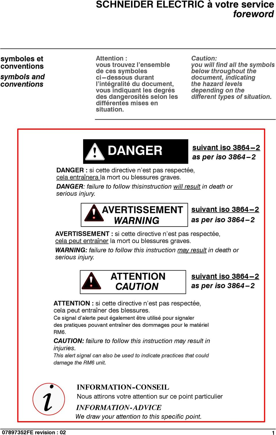 Caution: you will find all the symbols below throughout the document, indicating the hazard levels depending on the different types of situation.