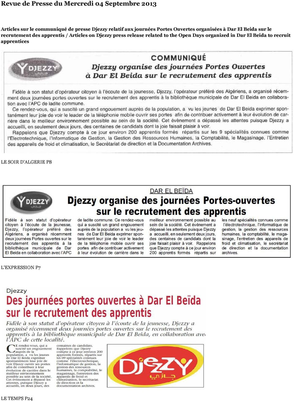recrutement des apprentis / Articles on Djezzy press release related to the Open Days
