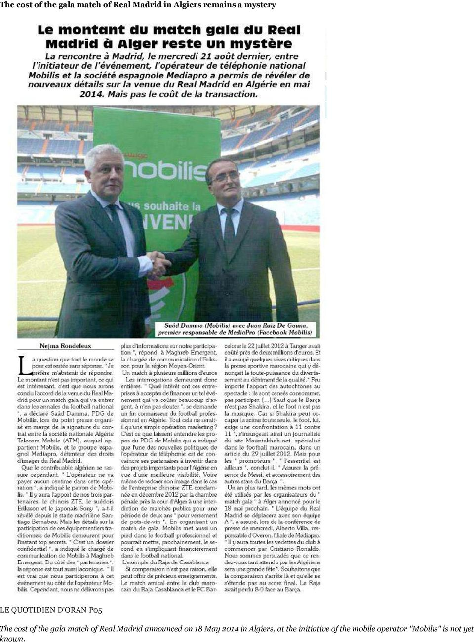 of Real Madrid announced on 18 May 2014 in Algiers, at the