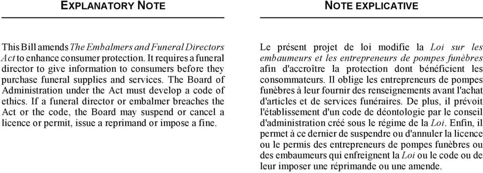 If a funeral director or embalmer breaches the Act or the code, the Board may suspend or cancel a licence or permit, issue a reprimand or impose a fine.