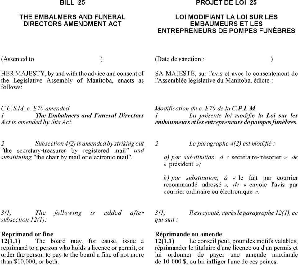 C.C.S.M. c. E70 amended 1 The Embalmers and Funeral Directors Act is amended by this Act. Modification du c. E70 de la C.P.L.M. 1 La présente loi modifie la Loi sur les embaumeurs et les entrepreneurs de pompes funèbres.