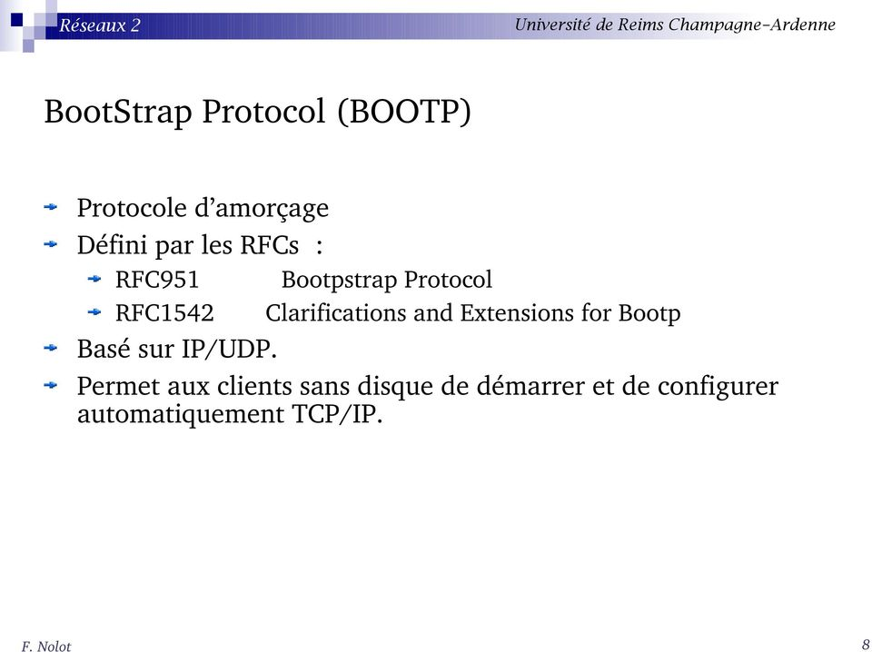 Extensions for Bootp Basé sur IP/UDP.
