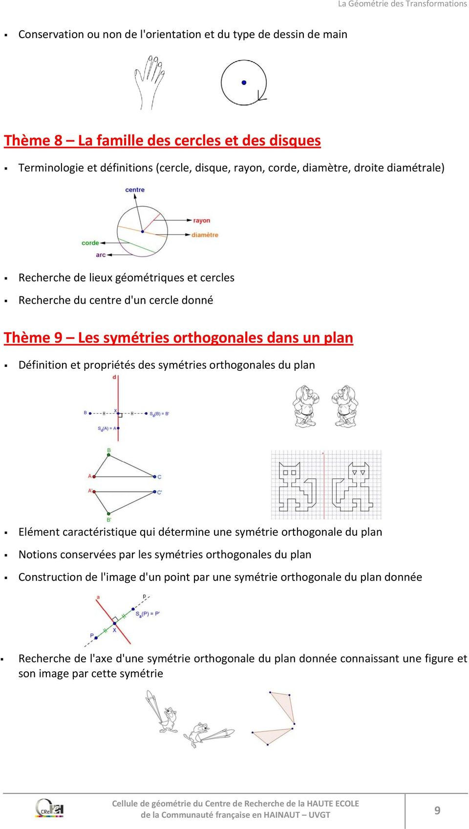 orthogonales du plan Elément caractéristique qui détermine une symétrie orthogonale du plan Notions conservées par les symétries orthogonales du plan Construction de l'image d'un point par