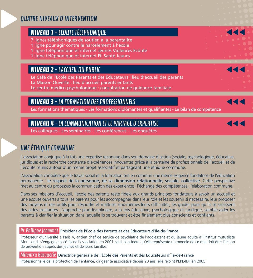 d accueil parents enfants Le centre médico-psychologique : consultation de guidance familiale NIVEAU 3 LA FORmATION DES PROFESSIONNELS Les formations thématiques - Les formations diplômantes et