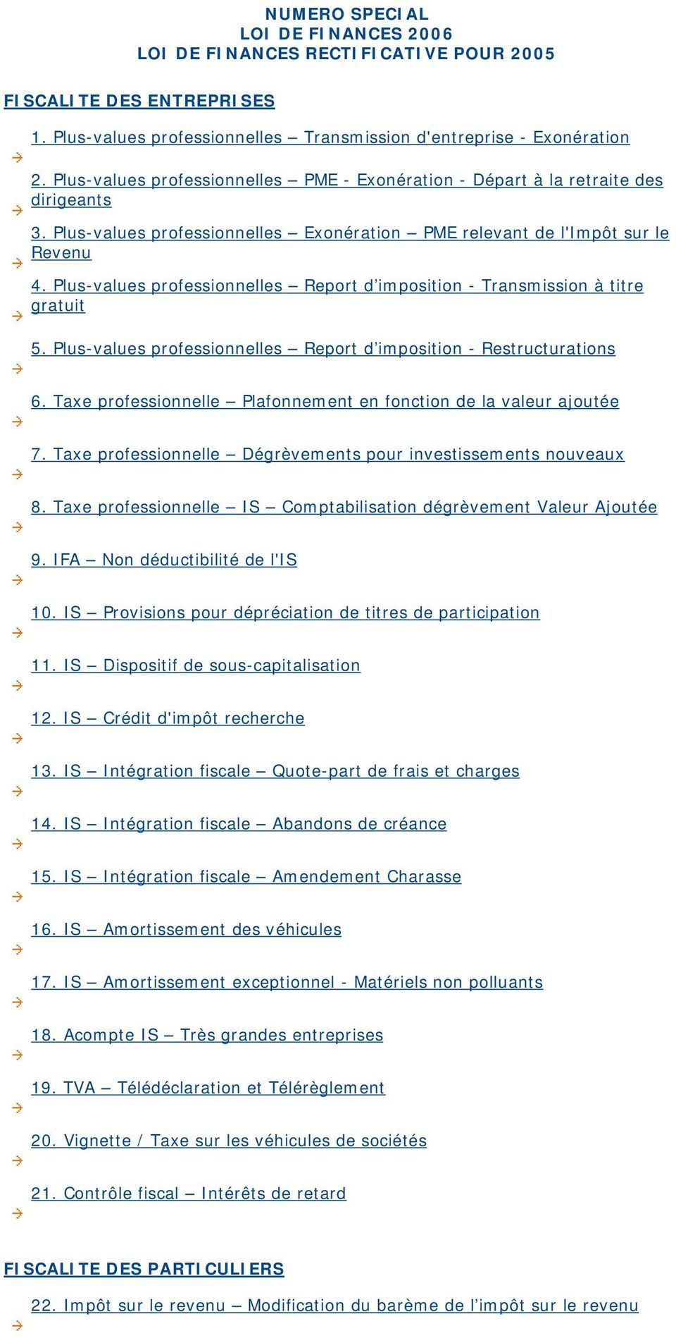 Plus-values professionnelles Report d imposition - Transmission à titre gratuit 5. Plus-values professionnelles Report d imposition - Restructurations 6.