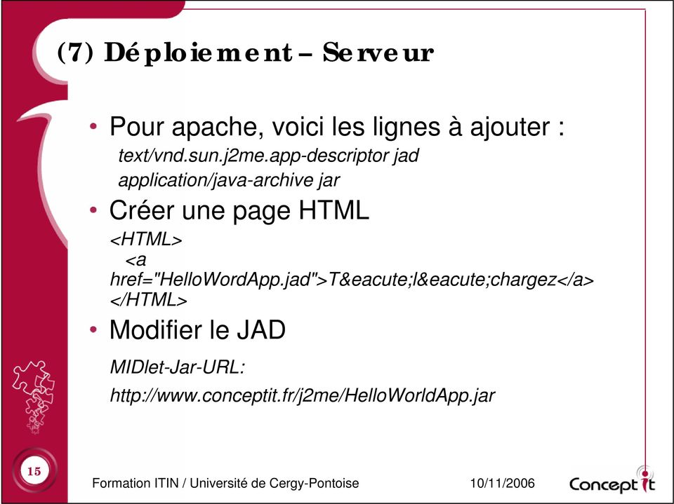 app-descriptor jad application/java-archive jar Créer une page HTML