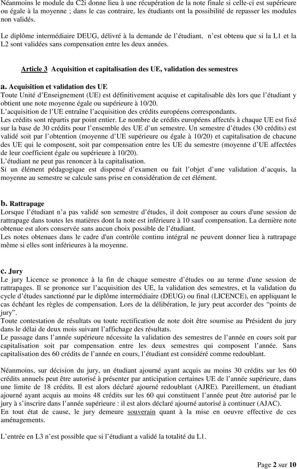 Article 3 Acquisition et capitalisation des UE, validation des semestres a.