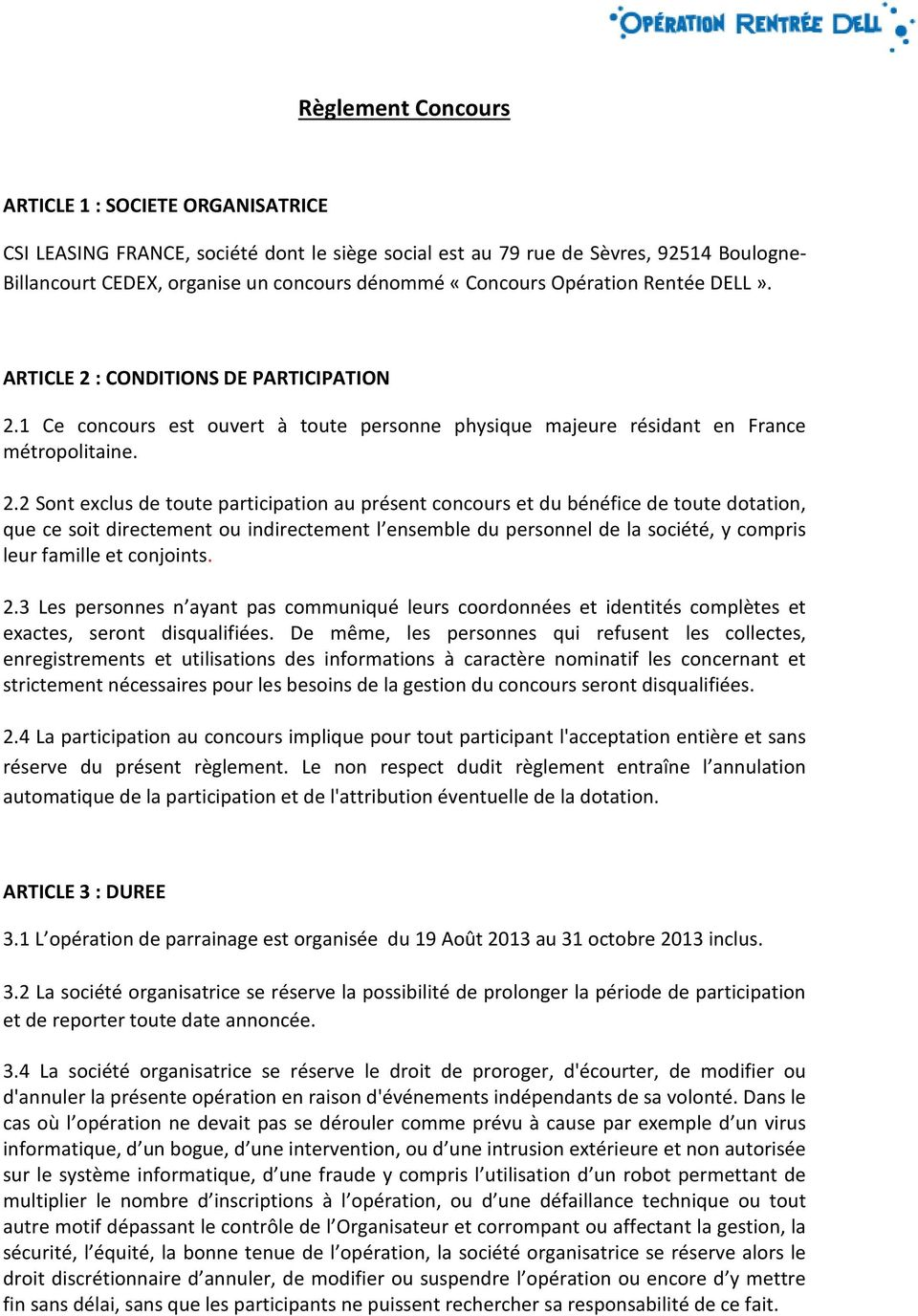 : CONDITIONS DE PARTICIPATION 2.