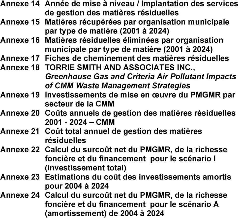 , Greenhouse Gas and Criteria Air Pollutant Impacts of CMM Waste Management Strategies Annexe 19 Investissements de mise en œuvre du PMGMR par secteur de la CMM Annexe 20 Coûts annuels de gestion des