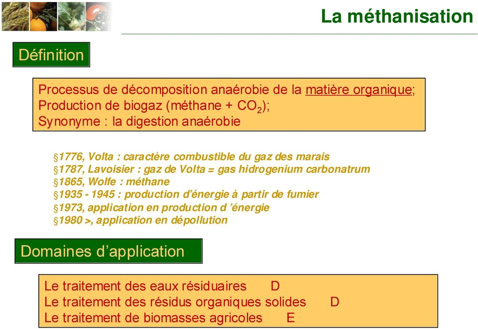 Wolfe : méthane 1935-1945 : production d énergie à partir de fumier 1973, application en production d énergie 1980 >, application en