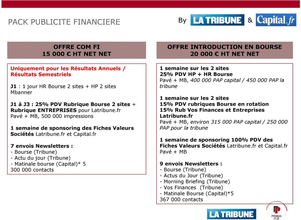 fr 7 envois Newsletters : - Bourse (Tribune) - Actu du jour (Tribune) - Matinale bourse (Capital)* 5 300 000 contacts OFFRE INTRODUCTION EN BOURSE 20 000 HT NET NET 1 semaine sur les 2 sites 25% PDV