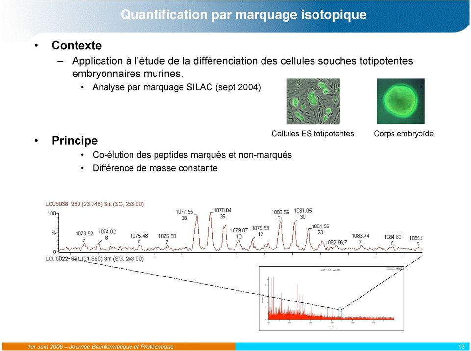 Analyse par marquage SILAC (sept 2004) Principe Co-élution des peptides