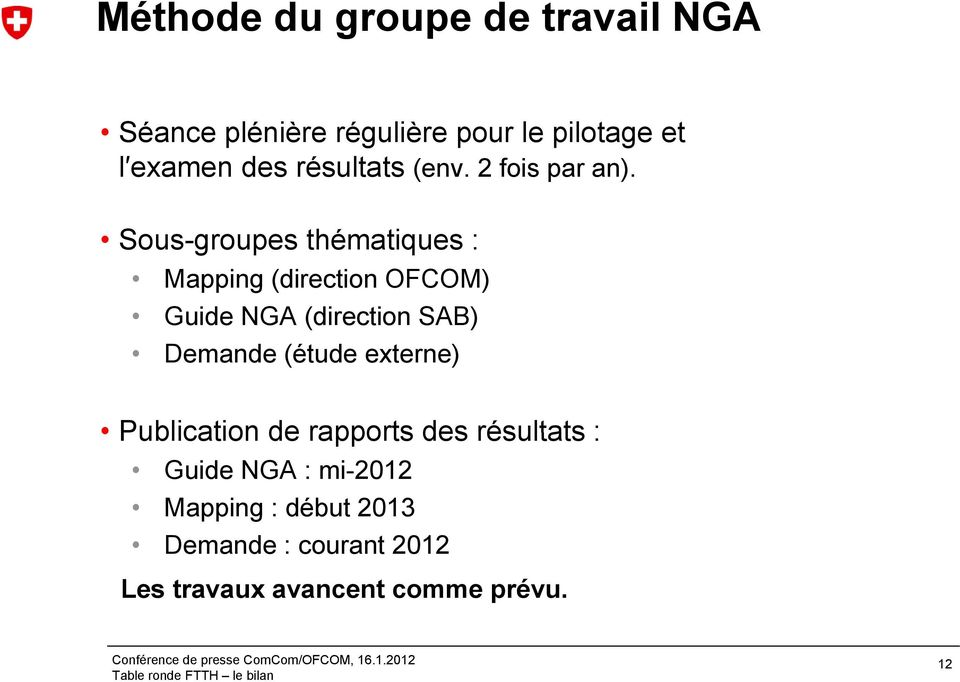 Sous-groupes thématiques : Mapping (direction OFCOM) Guide NGA (direction SAB) Demande