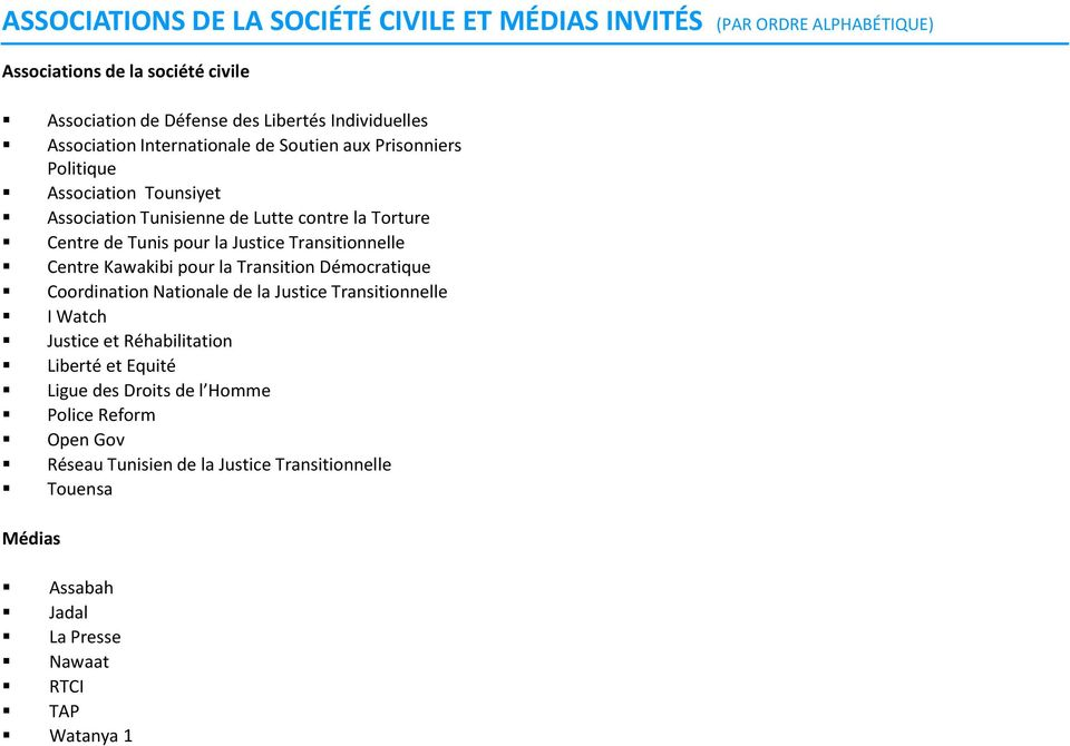 Justice Transitionnelle Centre Kawakibi pour la Transition Démocratique Coordination Nationale de la Justice Transitionnelle I Watch Justice et Réhabilitation