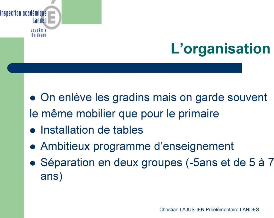 Installation de tables Ambitieux programme d