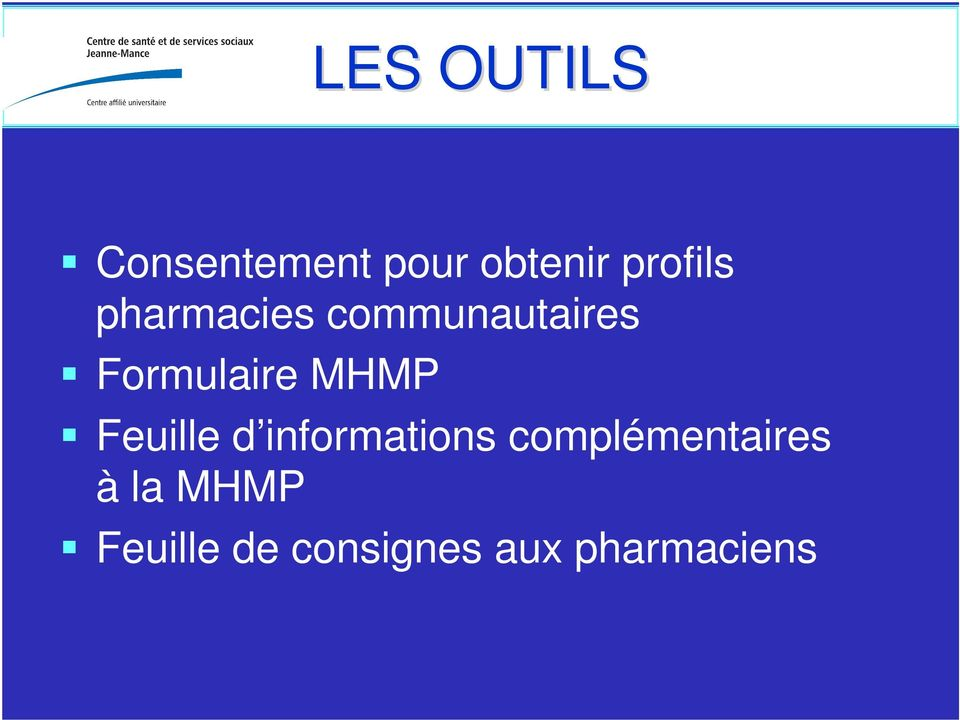 Formulaire MHMP Feuille d informations