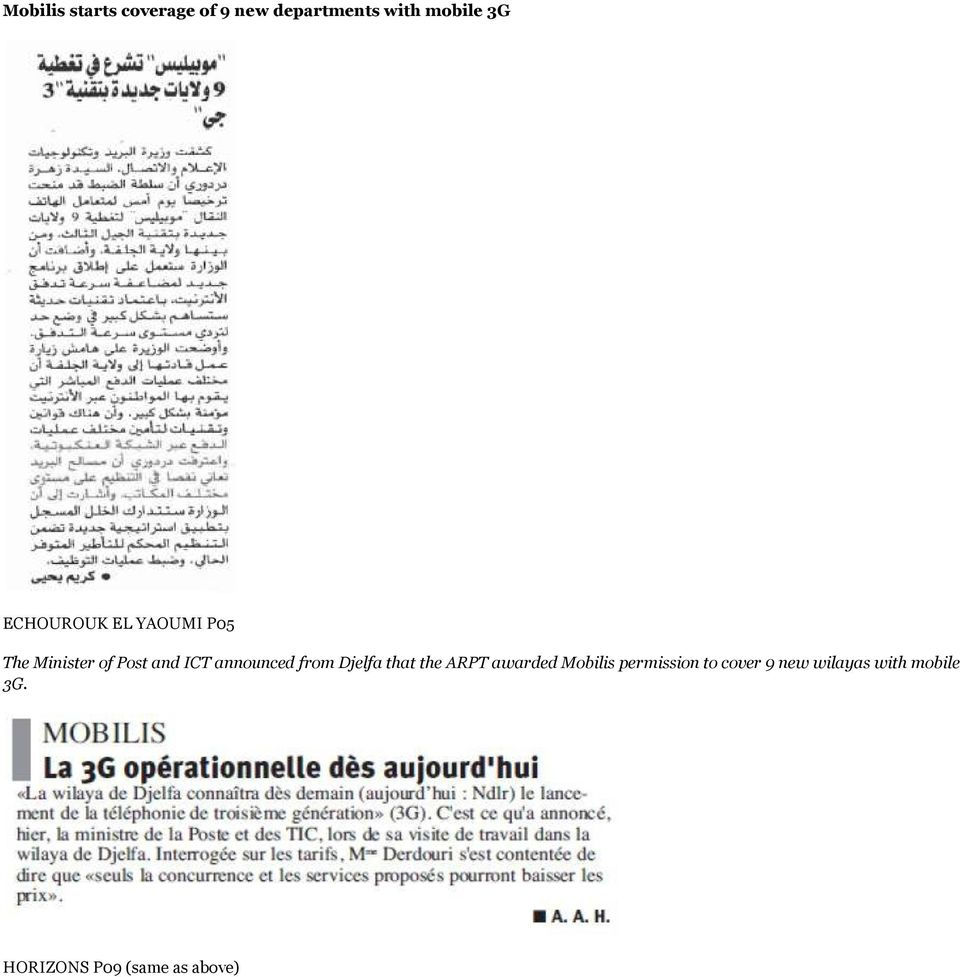 announced from Djelfa that the ARPT awarded Mobilis