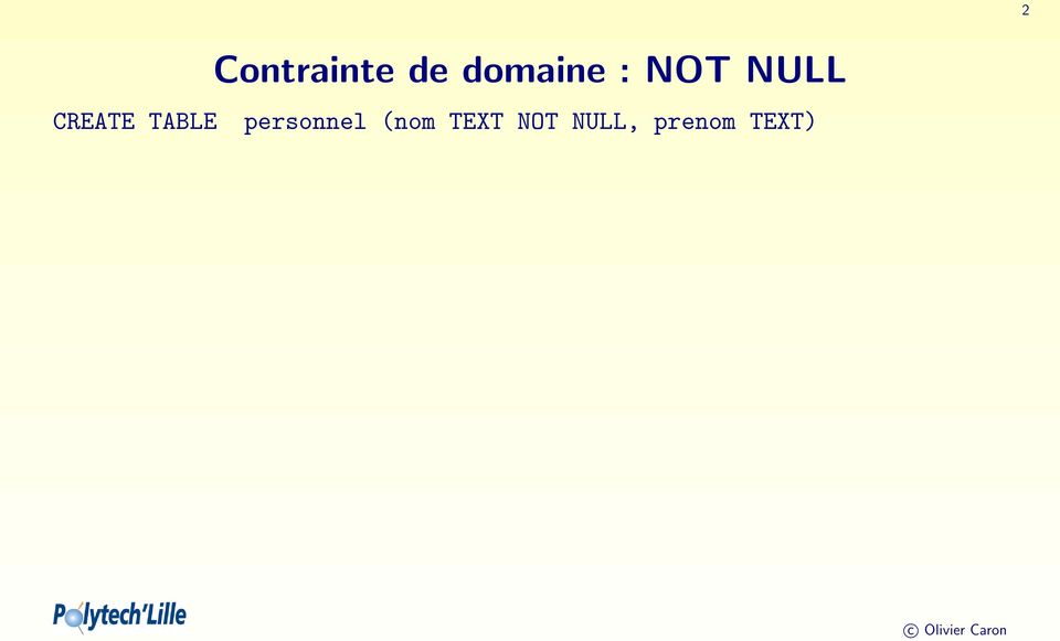 : NOT NULL personnel