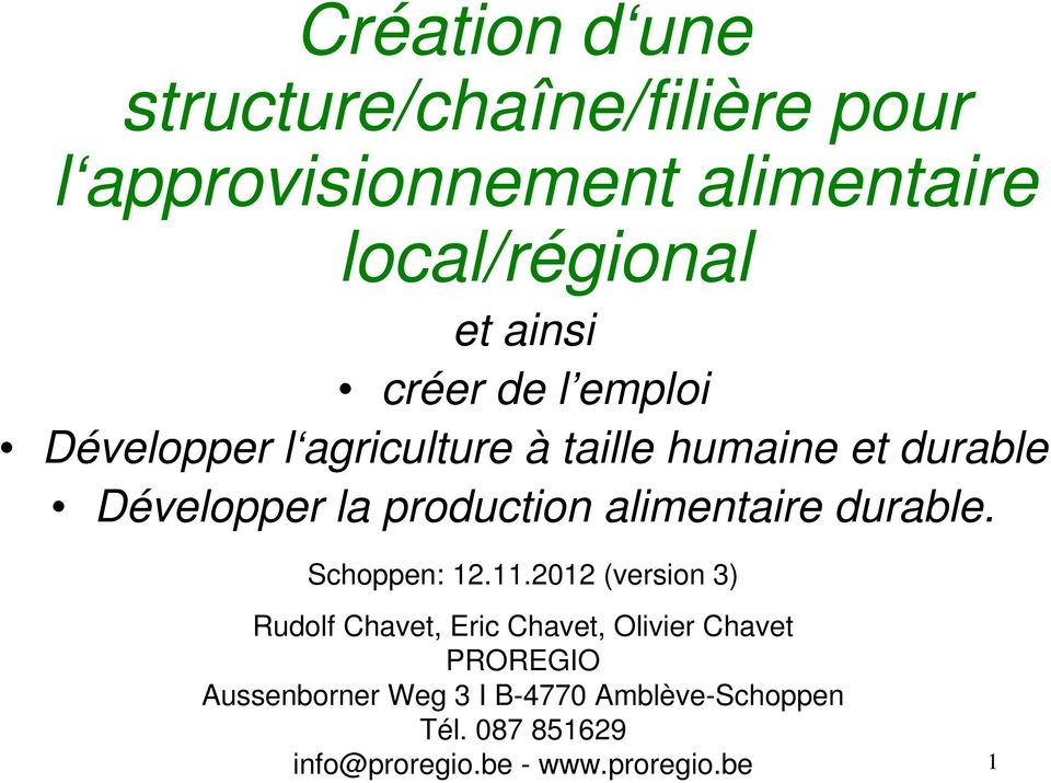 production alimentaire durable. Schoppen: 12.11.