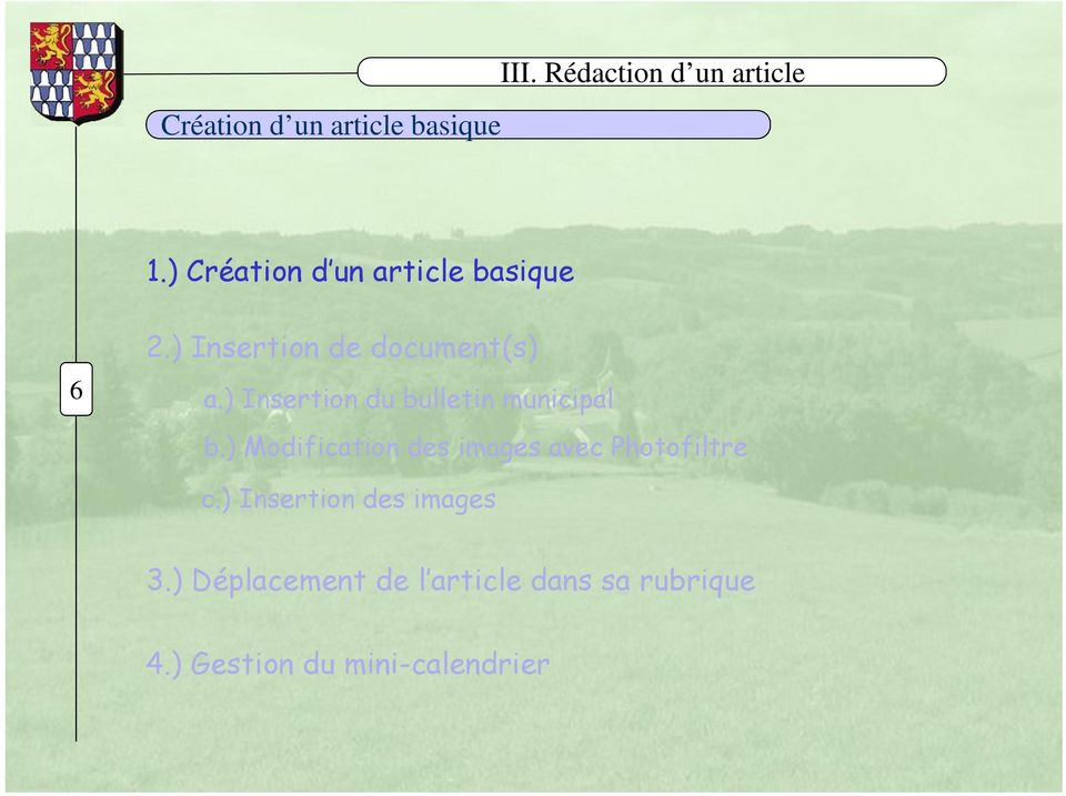 ) Modification des images avec Photofiltre c.) Insertion des images 3.