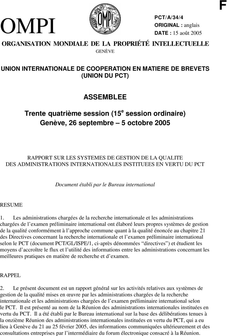 Document établi par le Bureau international RESUME 1.