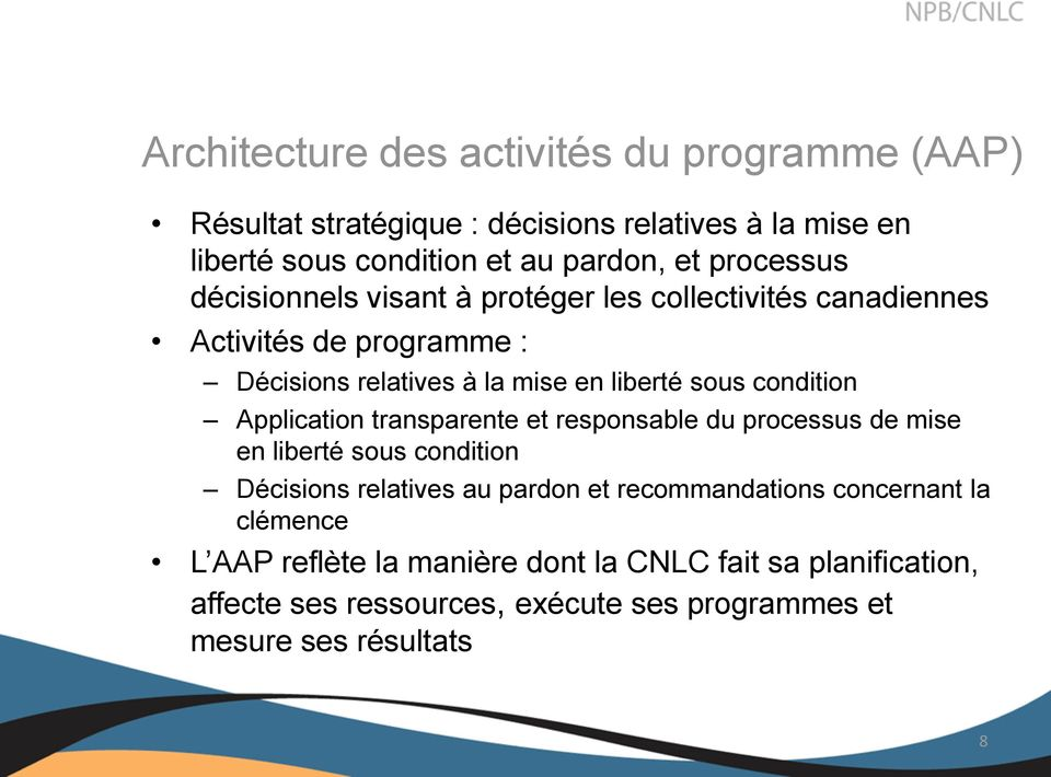 condition Application transparente et responsable du processus de mise en liberté sous condition Décisions relatives au pardon et recommandations