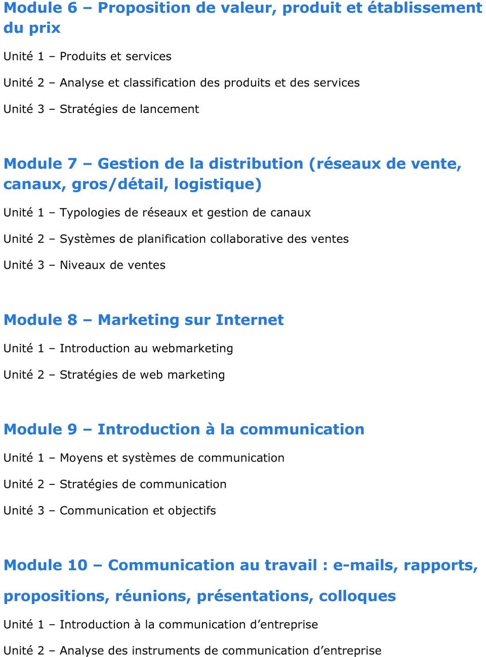 Niveaux de ventes Module 8 Marketing sur Internet Unité 1 Introduction au webmarketing Unité 2 Stratégies de web marketing Module 9 Introduction à la communication Unité 1 Moyens et systèmes de