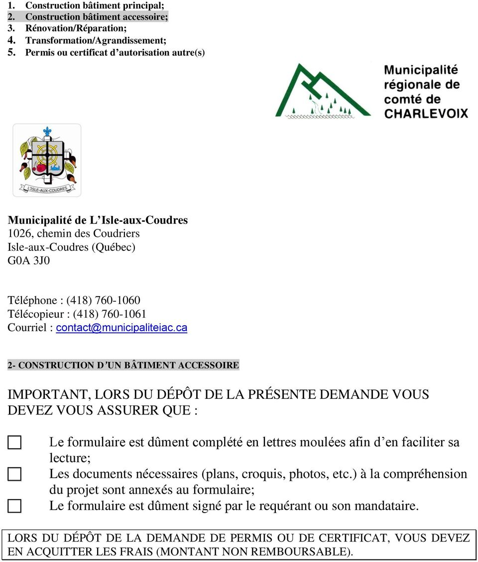 Courriel : contact@municipaliteiac.