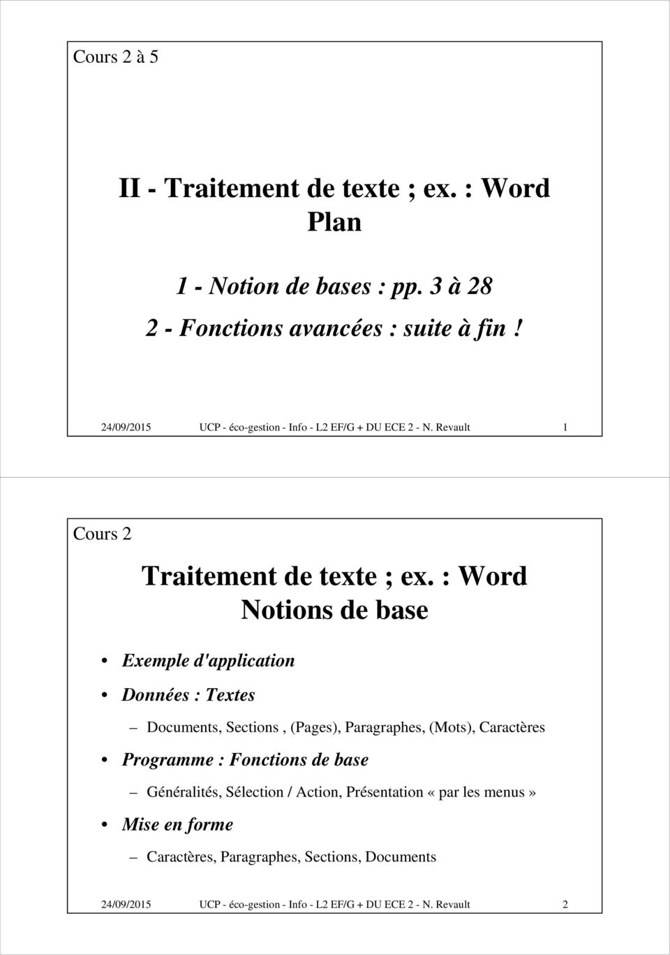 : Word Notions de base Exemple d'application Données : Textes Documents, Sections, (Pages), Paragraphes, (Mots), Caractères Programme :