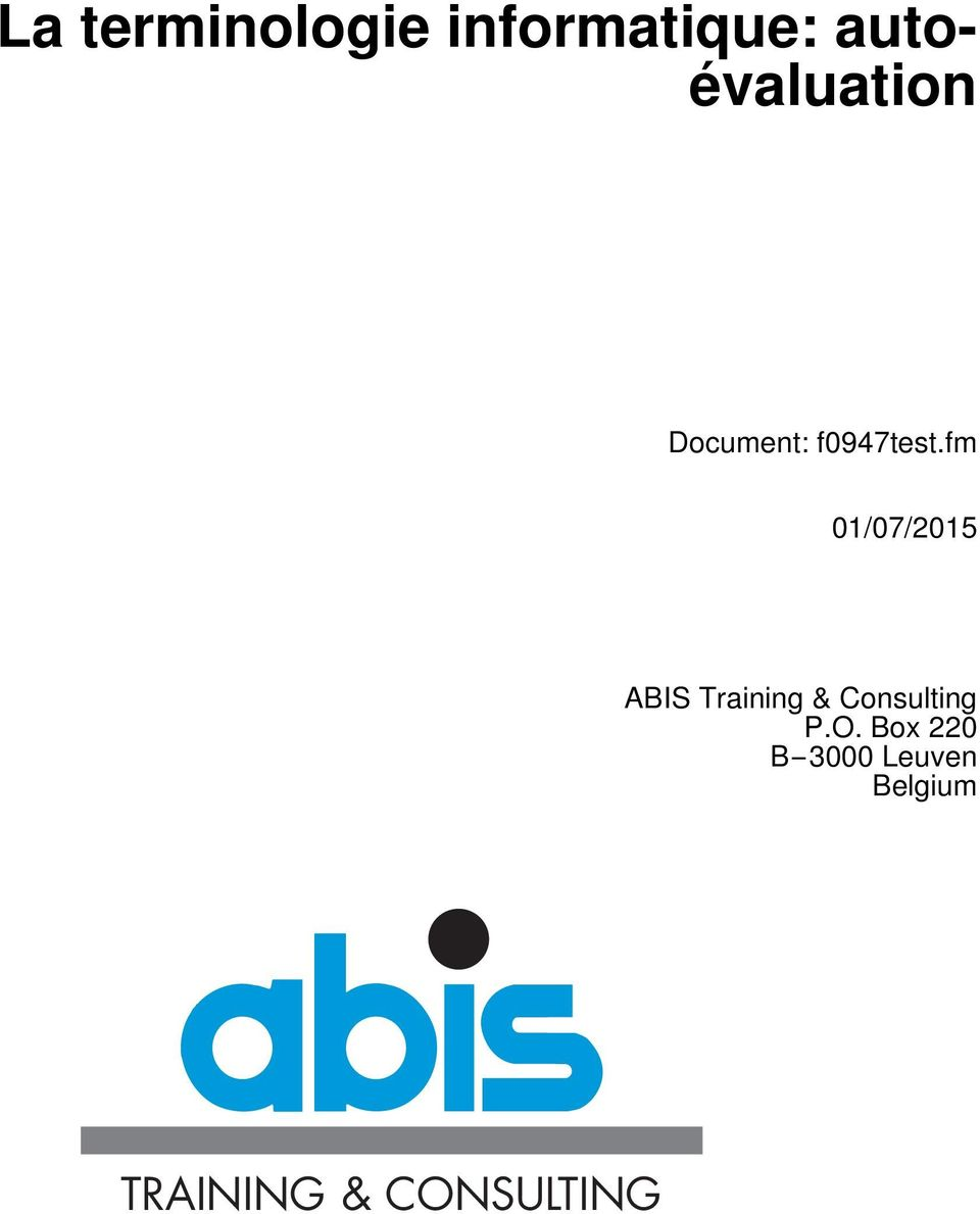 fm 01/07/2015 ABIS Training & Consulting