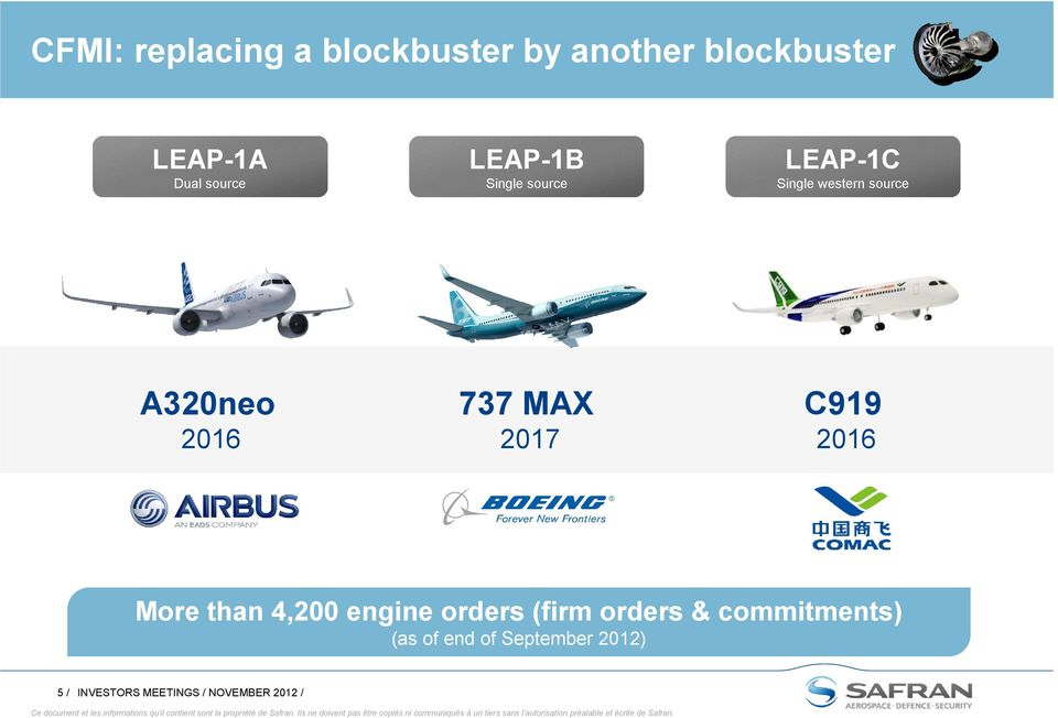 2017 C919 2016 More than 4,200 engine orders (firm orders & commitments)