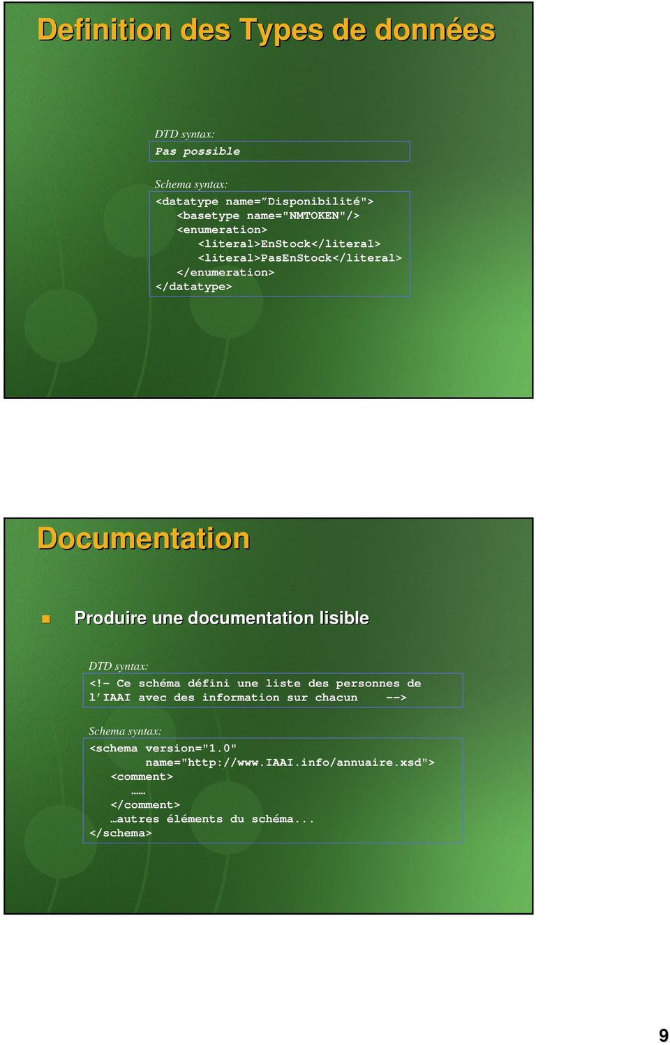 une documentation lisible DTD syntax: <!