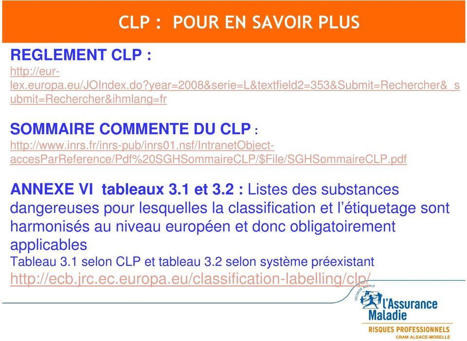 nsf/intranetobjectaccesparreference/pdf%20sghsommaireclp/$file/sghsommaireclp.pdf ANNEXE VI tableaux 3.1 et 3.