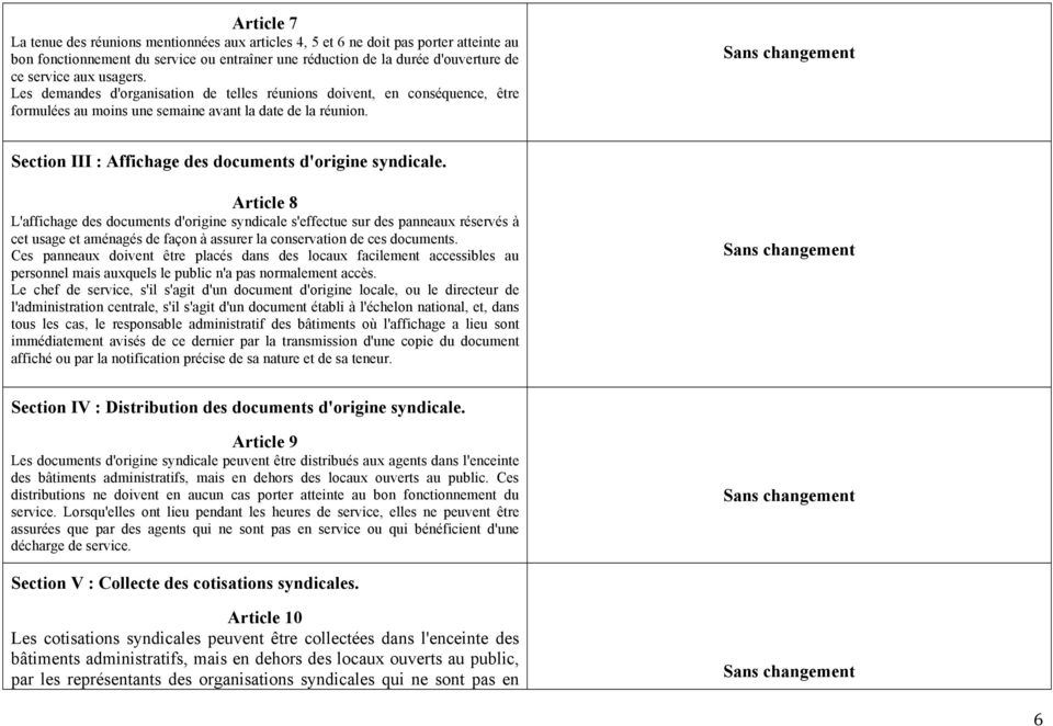 Sans changement Section III : Affichage des documents d'origine syndicale.