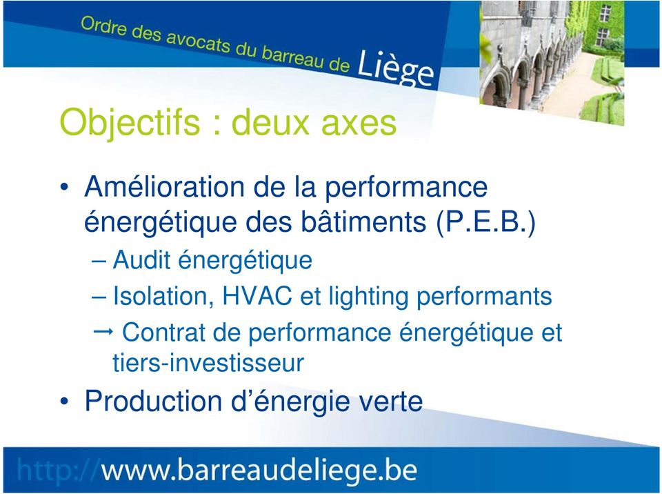 ) Audit énergétique Isolation, HVAC et lighting