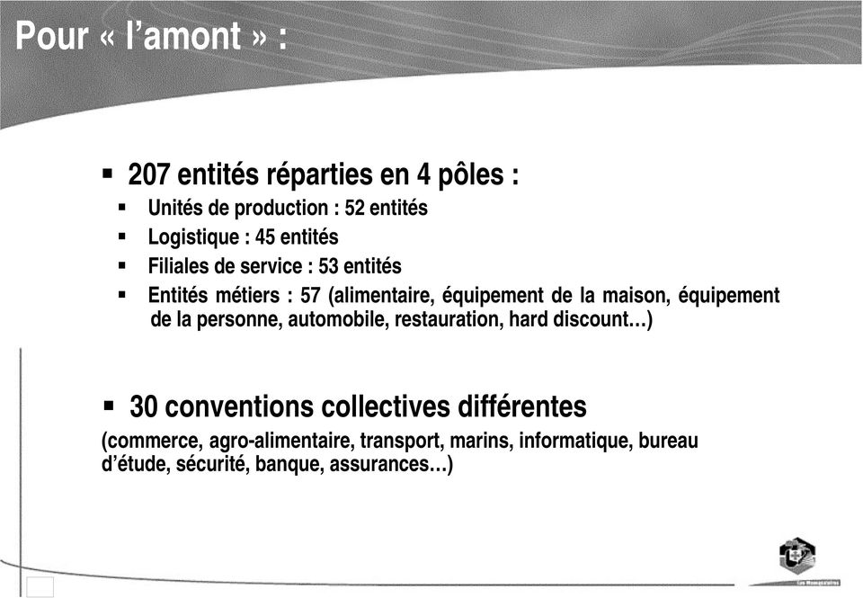 équipement de la personne, automobile, restauration, hard discount ) 30 conventions collectives