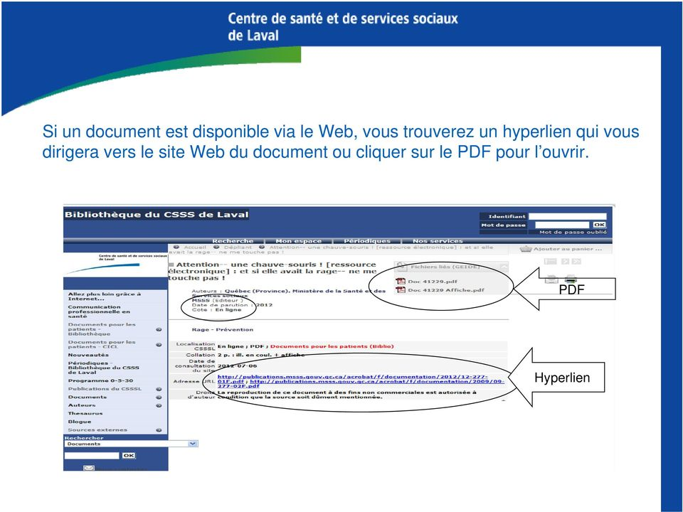 dirigera vers le site Web du document ou