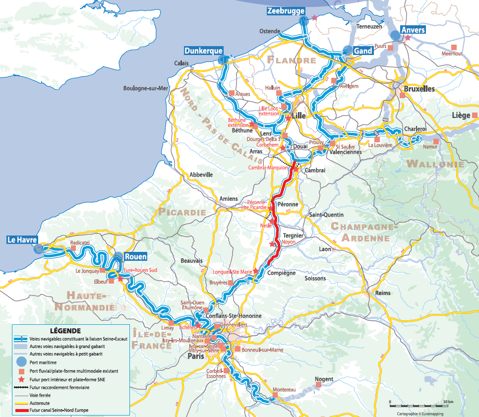 Seine Nord Europe canal Missing link in the European Seine-Scheldt broad gauge connection, connecting