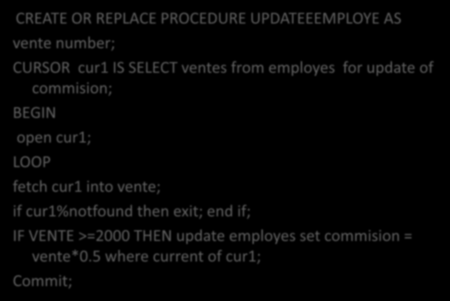 RÉPONSE: CREATE OR REPLACE PROCEDURE UPDATEEEMPLOYE AS vente number; CURSOR cur1 IS SELECT ventes from employes for update of commision; BEGIN open cur1;