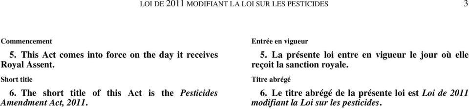 The short title of this Act is the Pesticides Amendment Act, 2011. Entrée en vigueur 5.
