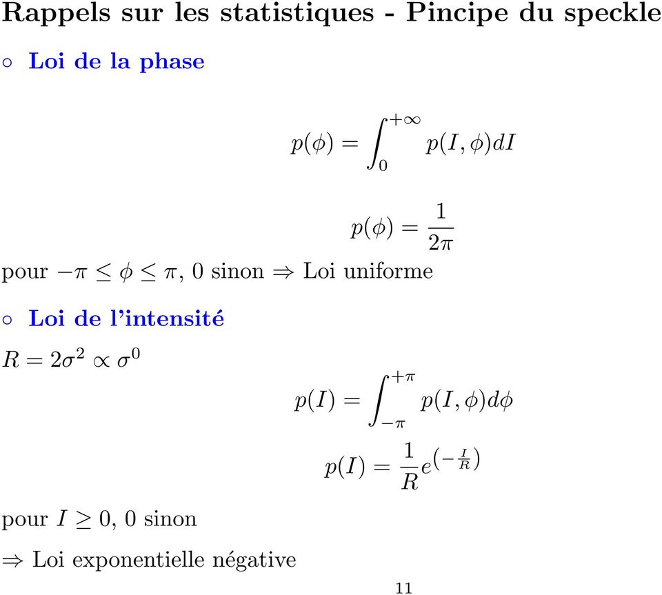 uniforme Loi de l intensité R = 2σ 2 σ 0 p(i) = +π π p(i, φ)dφ