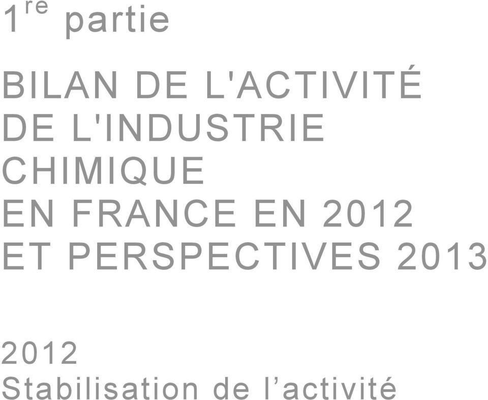 PERSPECTIVES 2013 2012 Stabilisation de l