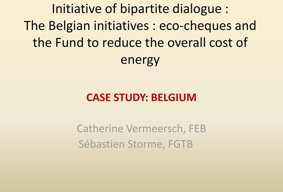 reduce the overall cost of energy CASE STUDY:
