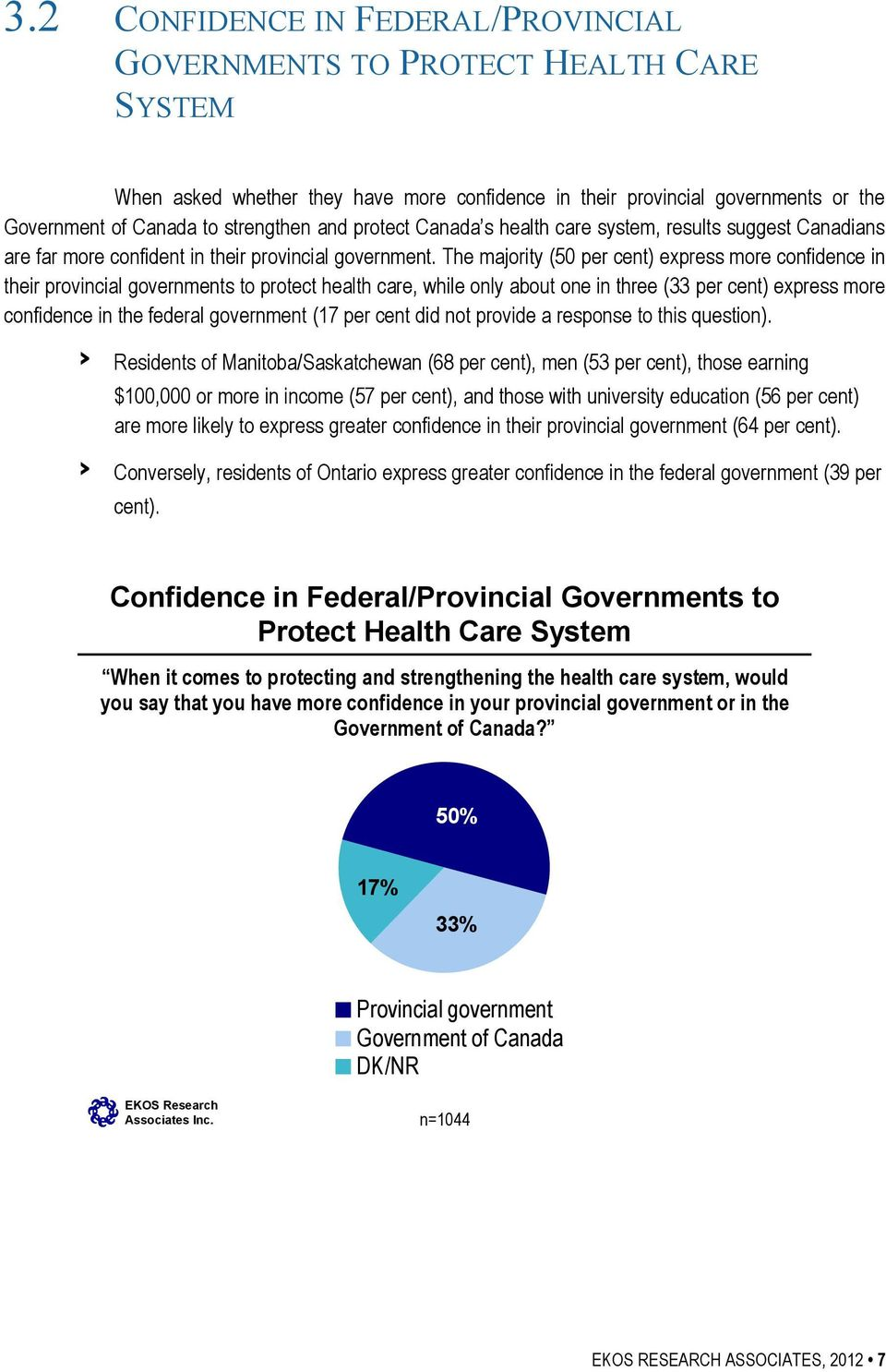 The majority (50 per cent) express more confidence in their provincial governments to protect health care, while only about one in three (33 per cent) express more confidence in the federal